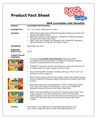Sample Fact Sheets Product Fact Sheet Image Lunchables Never Be